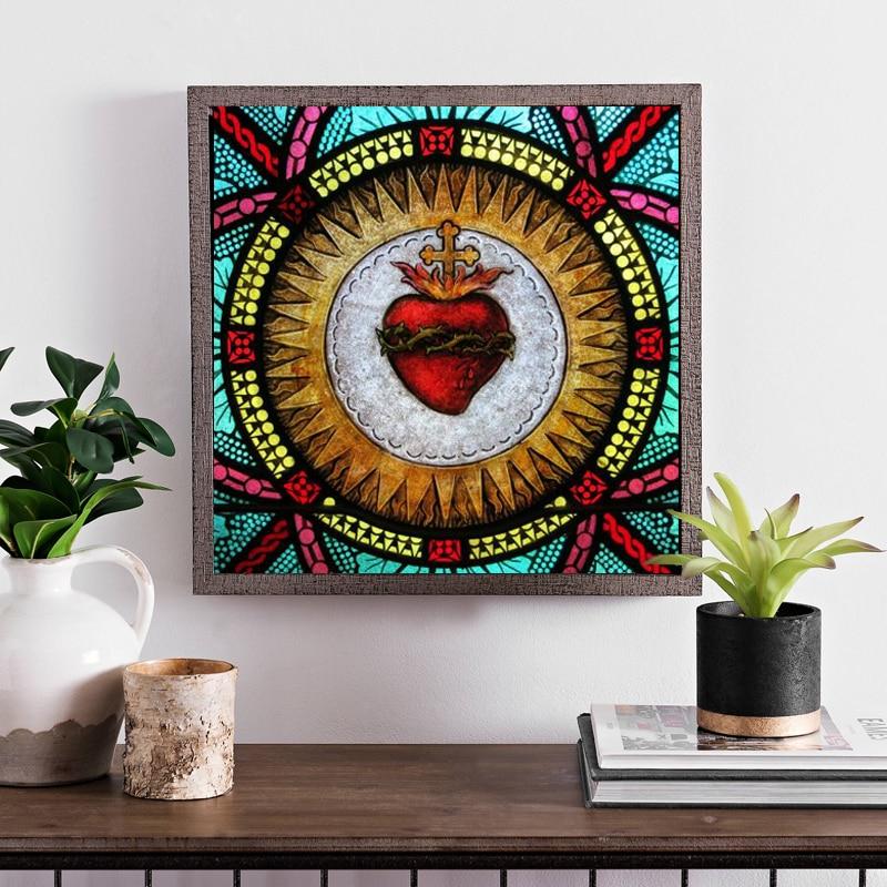 Pintura decorativa en lienzo de Arte de pared de vidrio manchado de corazón sagrado, póster de pared e impresión, imagen artística de pared para sala de estar, decoración del hogar
