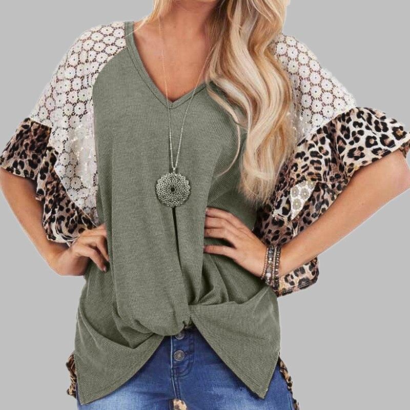 Женская одежда с v-образным вырезом 2020, леопардовая кружевная Лоскутная женская футболка, майка, Повседневная футболка с коротким рукавом, женская футболка, женские футболки
