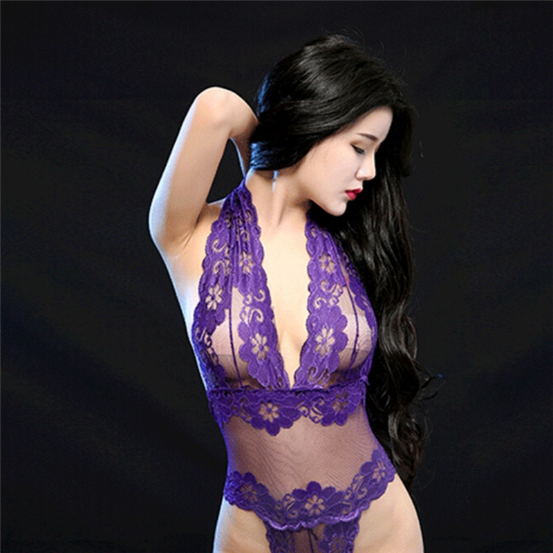 Hot Sexy Bodysuit Halter Embroidery Erotic Underwear Floral Lace Perspective Deep V Neck Sexy Lingerie Black Purple purple tease v neck floral lace trim robe with thong