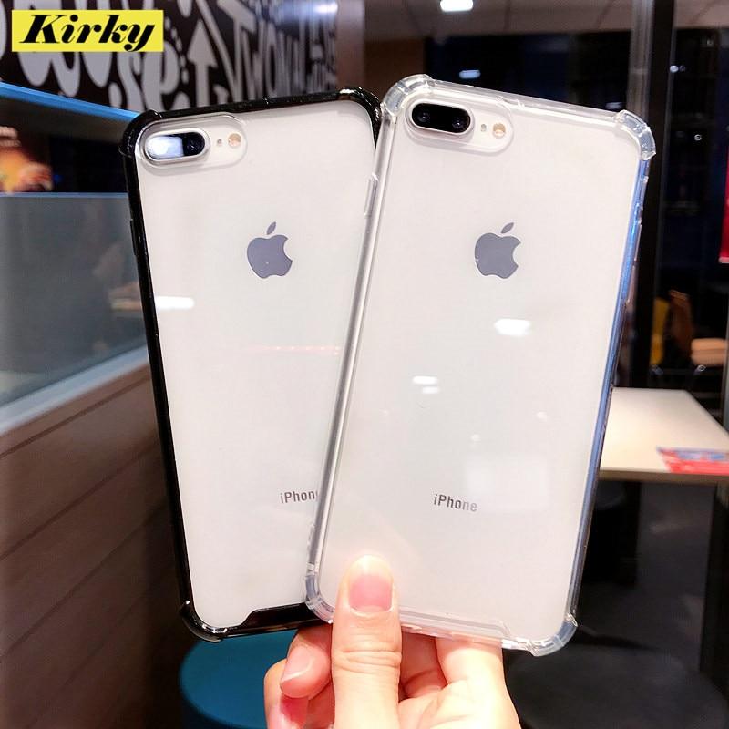 Mode Schwarz Transparent Stoßfest Telefon Fall Für iPhone 11 Pro XS Max XR X 6 6s 7 8 Plus weiche TPU Anti-knock rahmen Zurück Abdeckung
