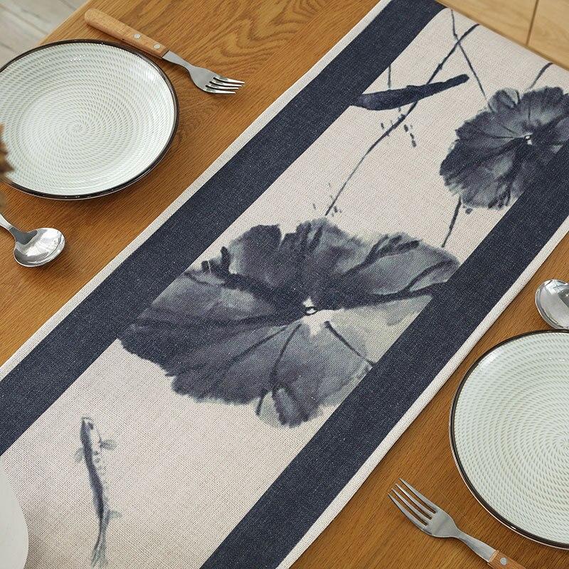 Estilo chinês corredor de mesa lótus folhas padrão simplicidade mesa bandeira festa de casamento banquete capa de mesa sala estar decoração