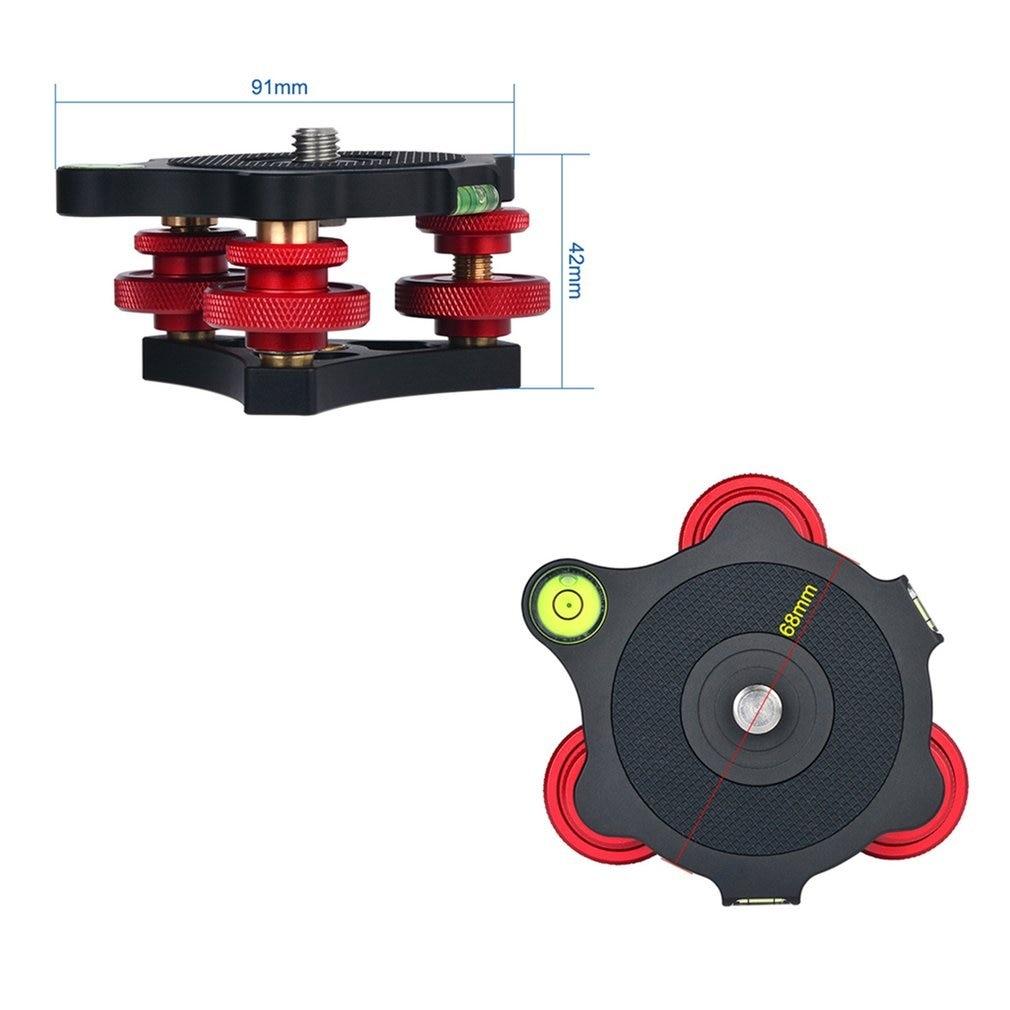 "LP-64 Camera Tripod Head LP-64 Leveling Base Aluminum Alloy Triple-wheel Precision Leveler Bubble Level 3/8"" Screw Load 15kg enlarge"