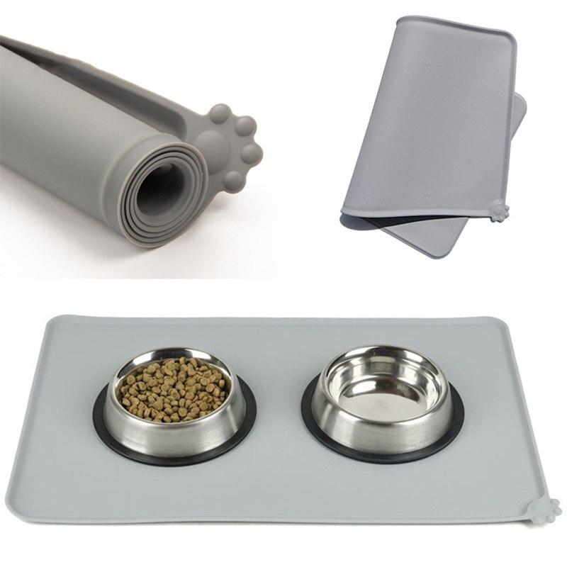 Waterproof Pet Mat for Dog Cat Silicone Pet Food Pad Pet Bowl Drinking Mat Dog Feeding Placemat easy Washing EJ892983