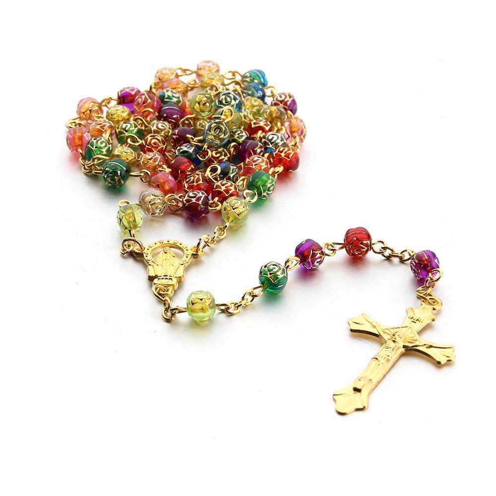 Collar religioso con cuentas de rosas, collar de acrílico con cuentas de rosas, collar de colgante de cruz, 2 colores, envío gratis, color blanco