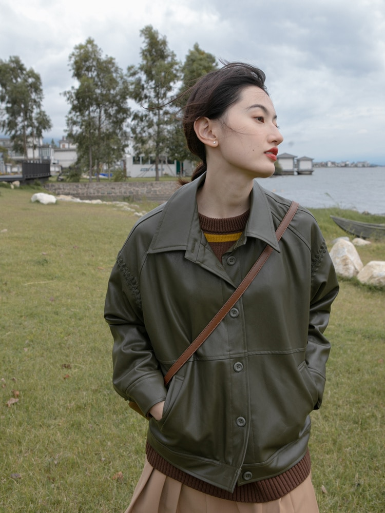 Leather Jacket Women's Early Spring And Autumn Short Motorcycle Jacket Fashion Off Shoulder Leather