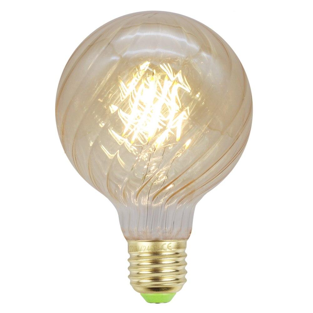 Bombillas Vintage Edison bombillas LED filamento lámpara G95 globo remolino hogar decorativo cálido bombilla blanca
