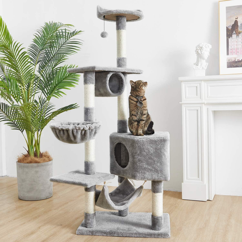 Condomínio com Rede Móveis para Casa 62-polegadas de Pele do Falso Gato Árvore Espaçoso Condomínio Luz Cinza Médio Grande Torre Brinquedo Escalada &
