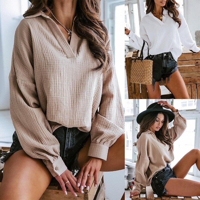blouse trueprodigy blouse Lantern Sleeve Blouse Women Autumn Winter V-neck Collar Shirts Office Work Blouse Solid Vintage Blouse Shirts womens tops