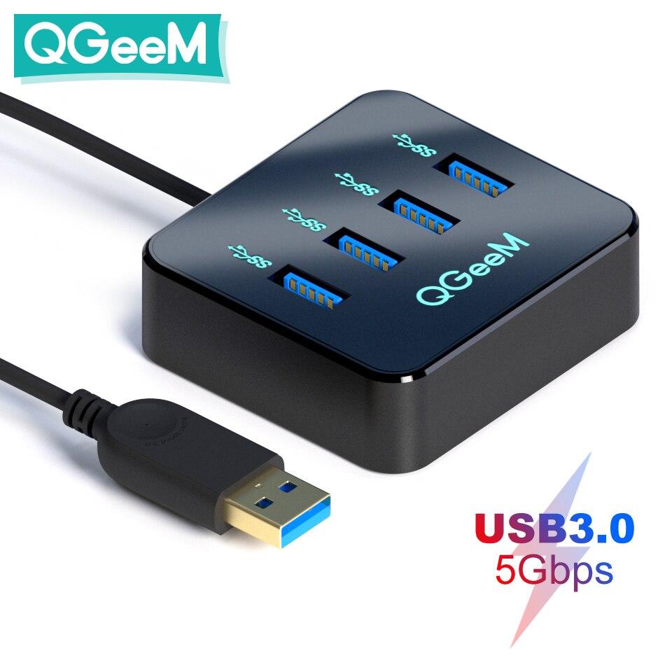 QGeeM USB Hub 3.0 adaptateur USB répartiteur pour Xiaomi ordinateur portable Macbook Pro 2015 iMac 4 Ports USB 3.0 Hub pour PC ordinateur accessoires