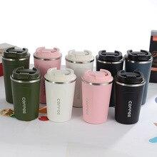 380 ML/510 ML doble 304 Acero inoxidable café espesado termo taza frasco de viaje de negocios botella de agua para regalos amantes