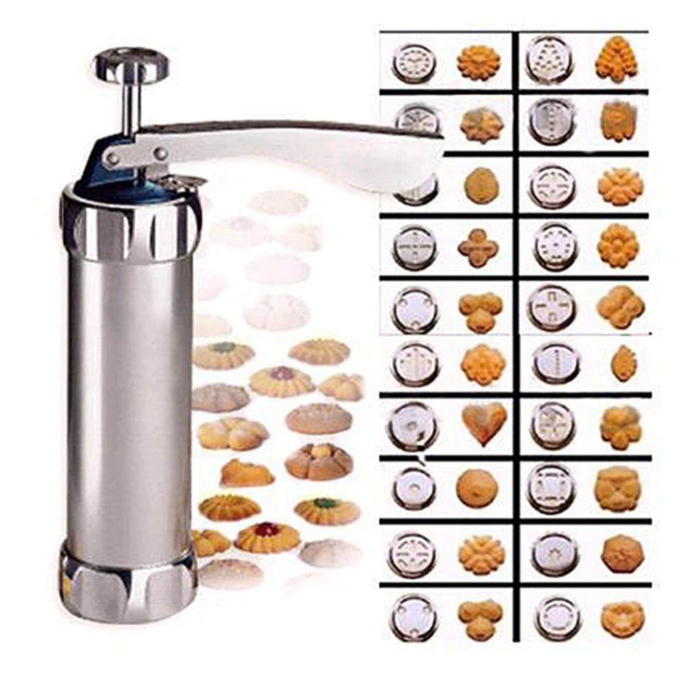 Máquina de prensa de acero inoxidable para galletas, 20 moldes para galletas, 4 boquillas para hornear, envío directo