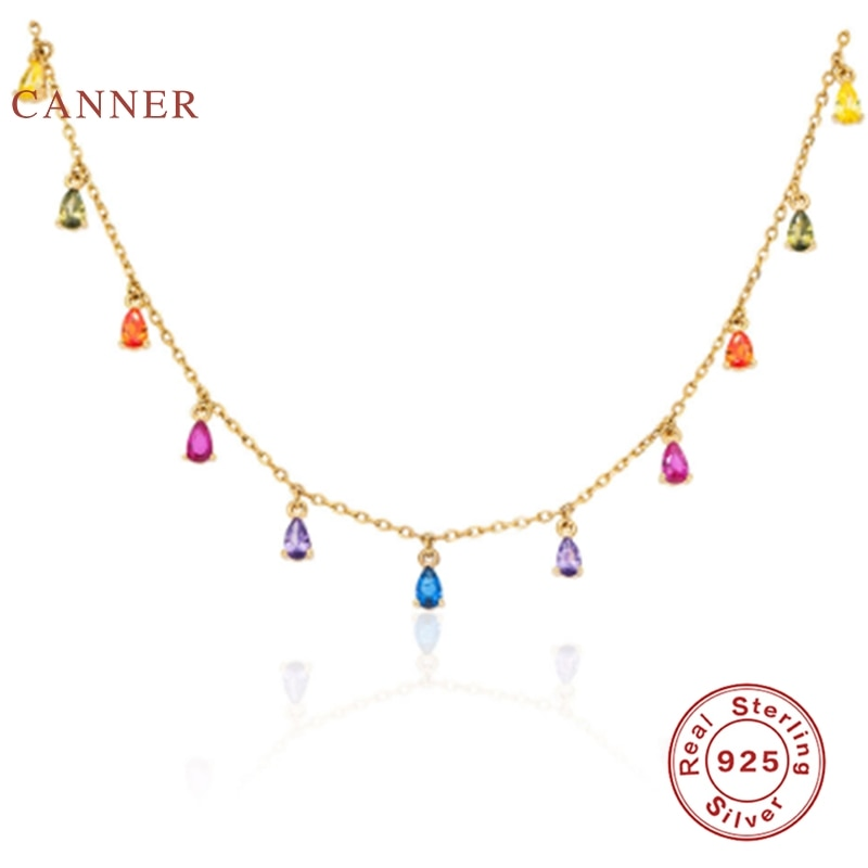 CANNER Stars Moon Real 925 Sterling Silver Necklace For Women 2020 Jewelry Pearl Fancy Diamond Chain Choker Necklace Bijoux