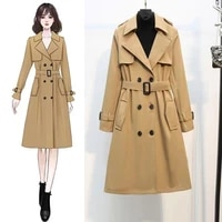 hot spring autumn british style windbreaker women medium length korean version loose hong kong style coat sagging sensation coat