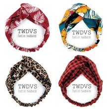 Chouchous femme noué Turban cheveux accessoires pour filles Turban élastique bandeau tête enveloppement rayé cheveux chouchous W276