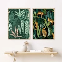 tropical leopard animal jungle posters and prints monstera leaf abstract wall art canvas painting pictures for living room decor