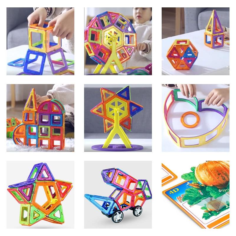 ZKZC Big Size Magnetic Designer Magnet Building Blocks 21-180pcs Construction Set Magnetic Bircks DIY Toys For Children Gifts
