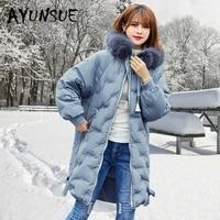 duck down jacket women clothes 2020 winter coat women korean fox fur collar hooded puffer jacket women warm parka 9082 yy2184