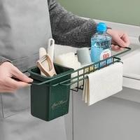kitchen sink organizer sponge holder storage drying rack spice organizer drainer basket bottle shelf rag bathroom accessories