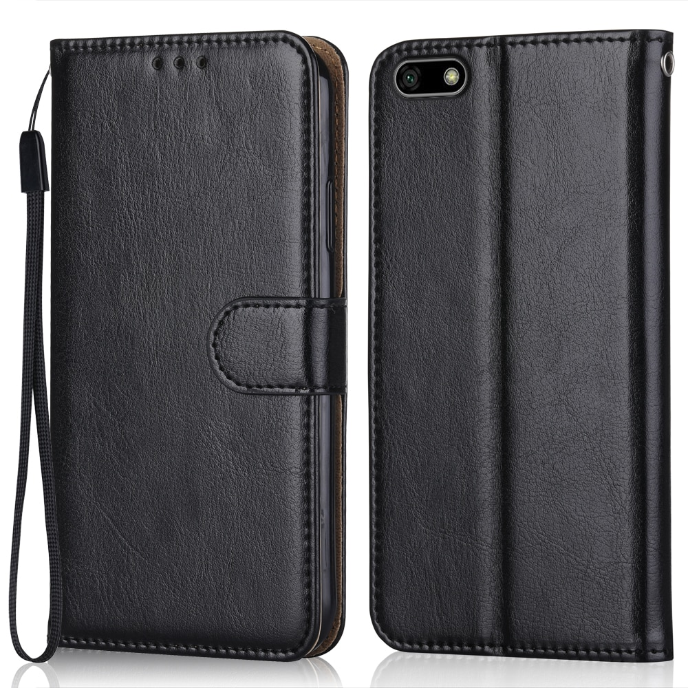 Luxury Leather Case for On Huawei Y5 2018 DRA-L21 Wallet Stand Flip Case Phone Bag with Strap