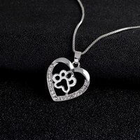 new heart shaped hollow dog paw print pattern pendant necklace womens necklace fashion crystal inlaid pendant accessory jewelry