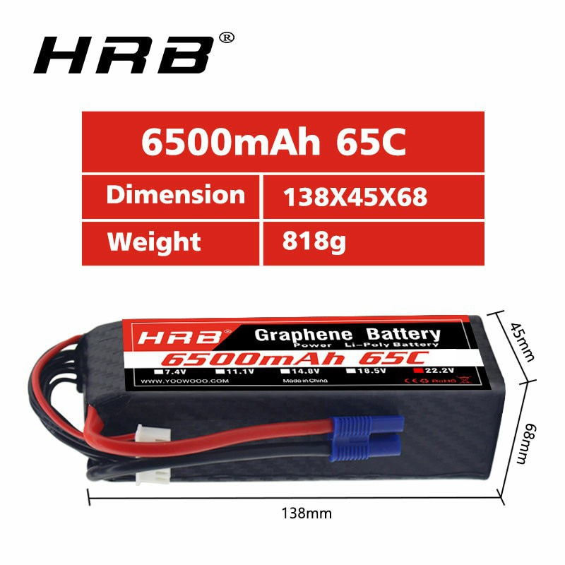 Hrb grafeno bateria 6 s 22.2 v 6500mah 65c lipo bateria ec5 conector para goblin 570 alinhar trex 700 800e helicóptero rc carro barco
