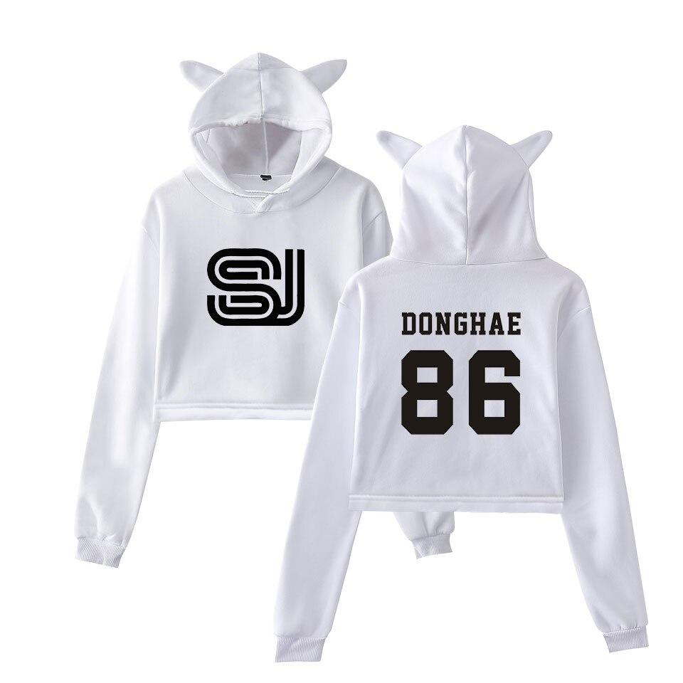 Super junior impressão feminina streetwear moda básica umbigo hoodies moletom popular casual legal gato orelha hoodies moletom