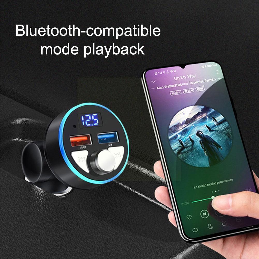 Автомобильный FM-передатчик Bluetooth 5,0 4.8A Быстрая зарядка Двойной Автомобильный MP3 аудио зарядное устройство плеер Автомобильный USB Громкая св...