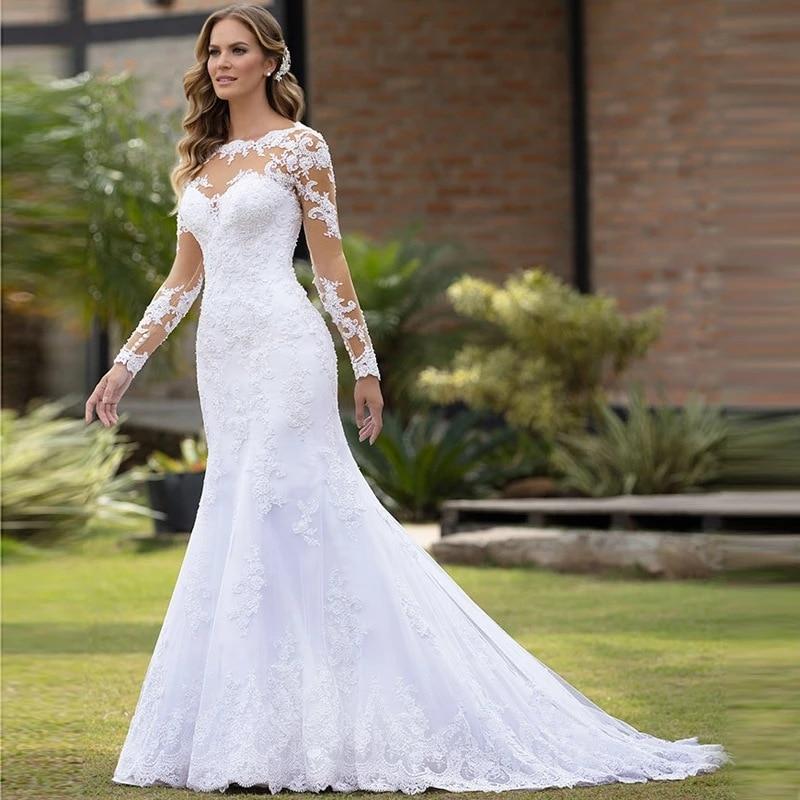 Promo 21 luxury quality fashion women's round neck dress high-end white lace wedding dress dignified temperament elegant wedding dress