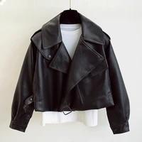 new spring women faux leather jacket biker red white coat turndown collar pu motorcycle jackets loose streetwear outerwear