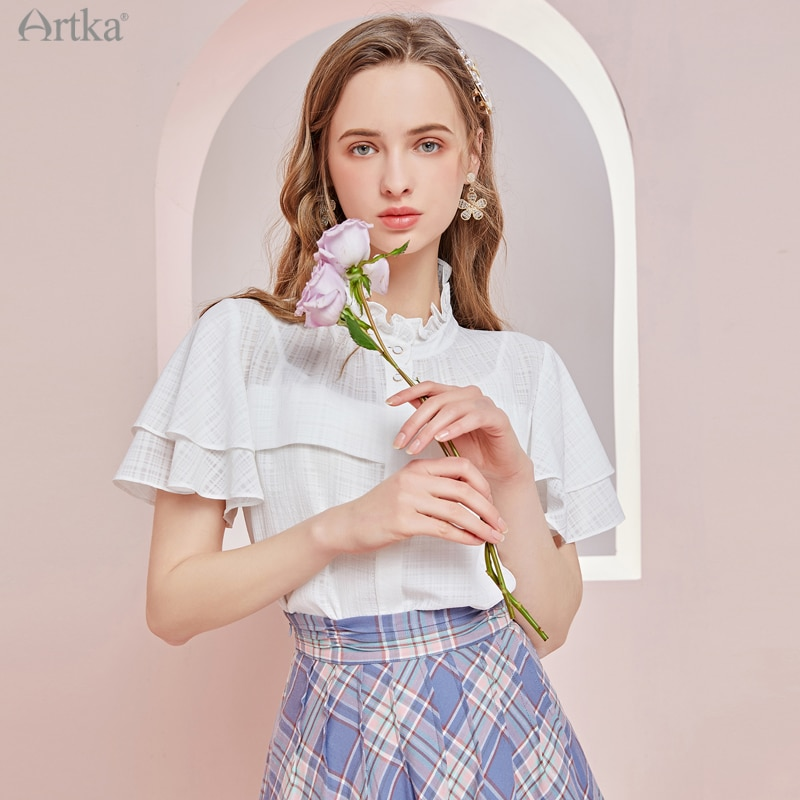 ARTKA-بلوزة نسائية بأكمام قصيرة ، قميص عتيق بياقة واقفة ، بلوزة شيفون بيضاء أنيقة ، SA22311C ، مجموعة صيف 2021 الجديدة