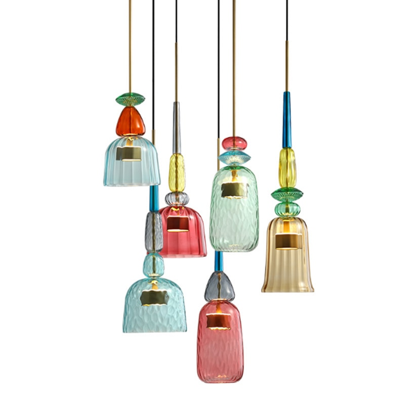 Nordic Minimalist Stained Glass Single Pendant Lamp Modern DIY Combination Red Blue Glass Restaurant Decoration LED Lighting