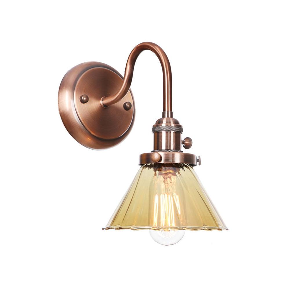 مصباح حائط على طراز دور علوي مع مفتاح ، زجاج ، حديد ، تركيب صناعي عتيق ، مصباح حائط لغرفة النوم ، مصباح ديكور