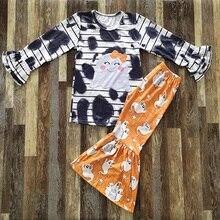 الخريف مجموعة المحلات التجارية طفلة البرتقال متوهج السراويل ملابس منقوشة بكم طويل مخطط نمط كشكش للأطفال مجموعة جميلة