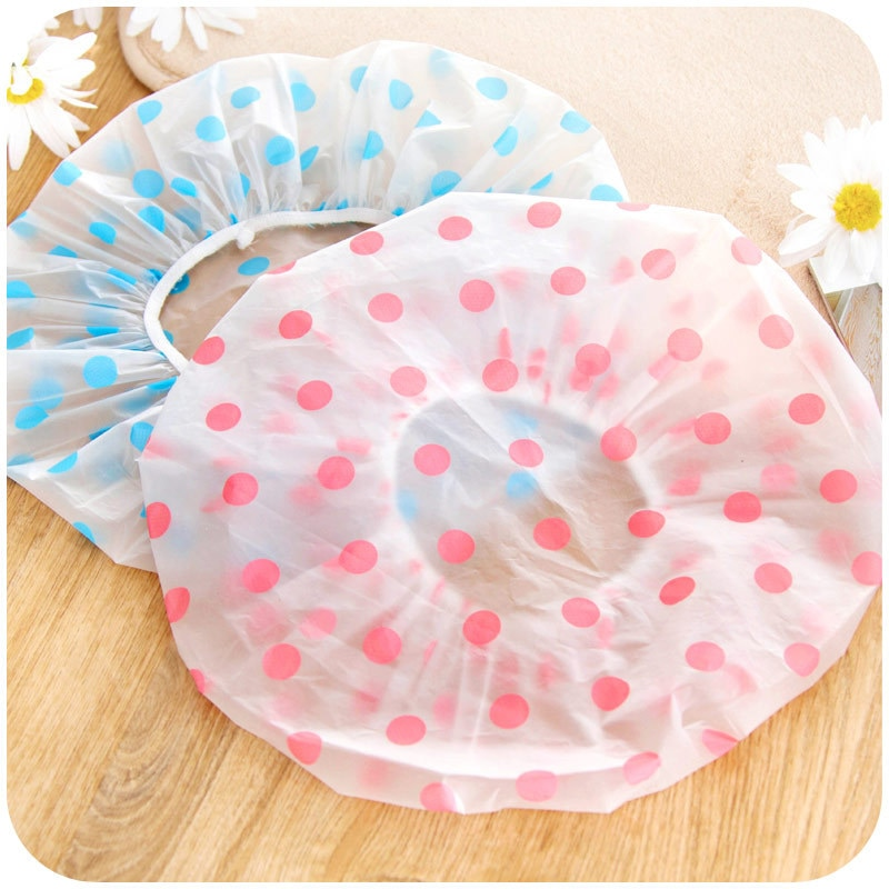 Shower Caps Household Bathroom Products Fashion Wave Point Waterproof Shower Cap Dot Bath Hair Cover Hat Cap