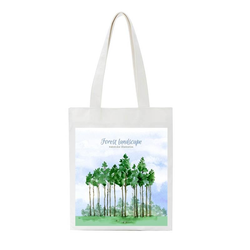 Spring Forest Print Reusable Shopping Bag Women Canvas Tote Bags Eco HandBag Larger Capacity Female Student Shopper Shoulder Bag