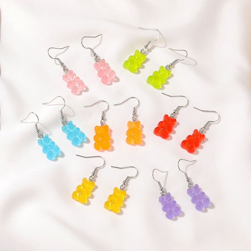 Gummy Bear Earrings Jewelry Vintage Hoop Cute Kawaii Accessories Personalized Gift Piercing Emo Desi