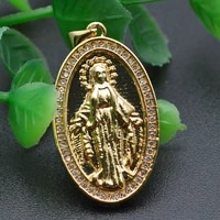 religious style cubic zircon cz paved gold plated oval shape jesus madonna metal brass charm pendant for jewelry making supplies