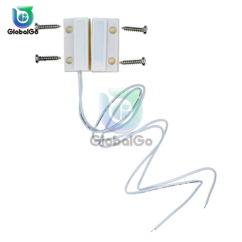 5 uds MC-38 MC38 Sensor de ventana de puerta con cable interruptor magnético sistema de alarma de casa normalmente cerrado NC interruptores normalmente abiertos