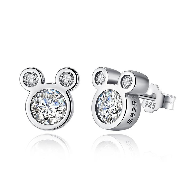 Lovely Cute 925 Sterling Silver Cartoon Mickey Stud Earrings Dazzling White Zircon Stone Mouse Anima