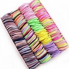 Bandeaux élastiques 3cm pour enfants   100 pièces, accessoires de cheveux pour filles, couleur bonbon, gomme pour couvre-chef