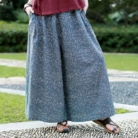 new spring autumn cotton linen womens pants bottoms loose casual pants printing wide leg culottes