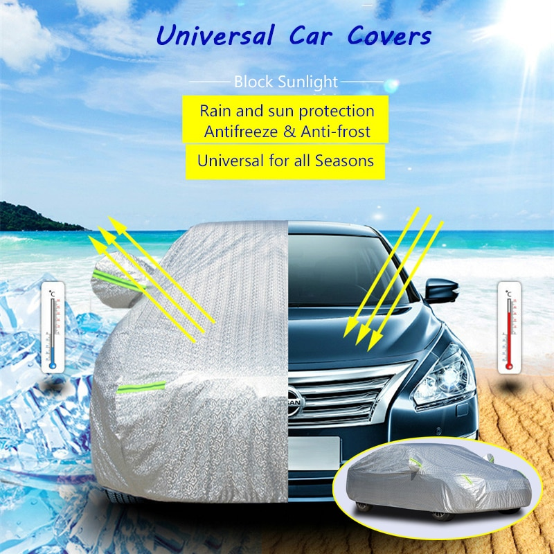 Universal Car Cover Waterproof Outdoor Rain & Sun Protection Antifreeze Anti-frost Dust & Snow Resistant Cover for SUV Sedan