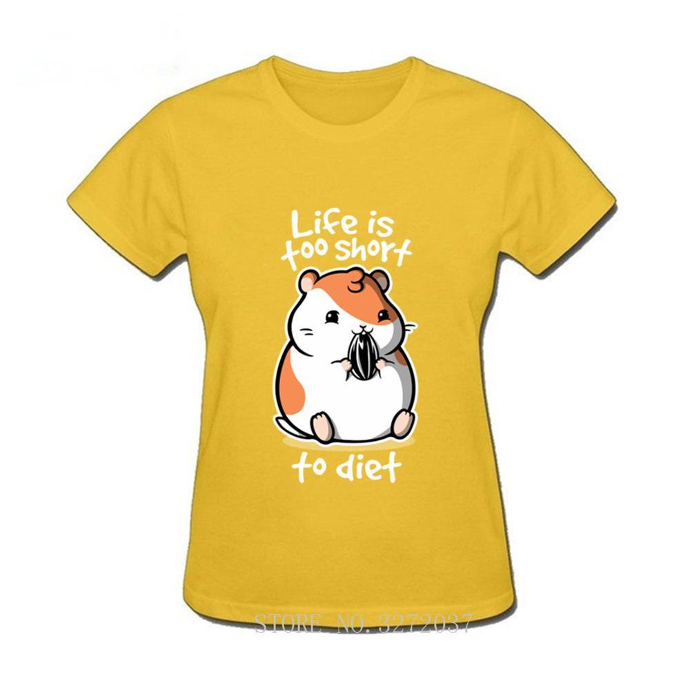 Camiseta de mujer de hámster gordo divertida idea de diseño de la vida es demasiado corta para la dieta broma De La camiseta de impresión de conejillo de indias mascota par camiseta