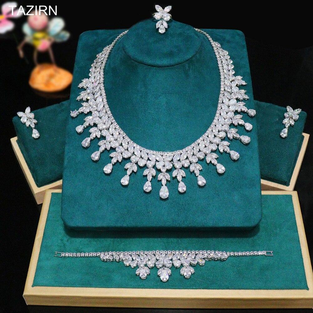 الفاخرة نيجيريا طقم مجوهرات كبيرة لحفل الزفاف دبي نيجيريا الزفاف 4 قطعة قلادة تشيكوسلوفاكيا سوار استرخى أقراط ومجموعات حلقة