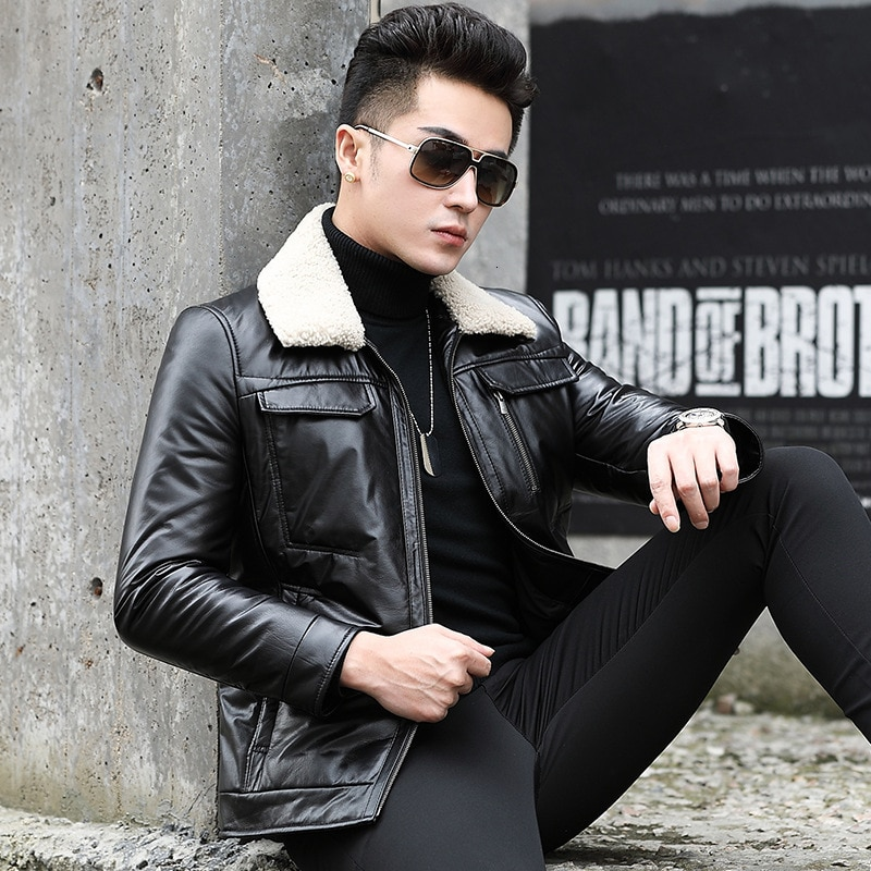 Genuine Leather Jacket Men Cow Leather Duck Down Winter Coat Men Wool Collar Real Leather Jacket Men 2020 Casaco SY60N YY9114