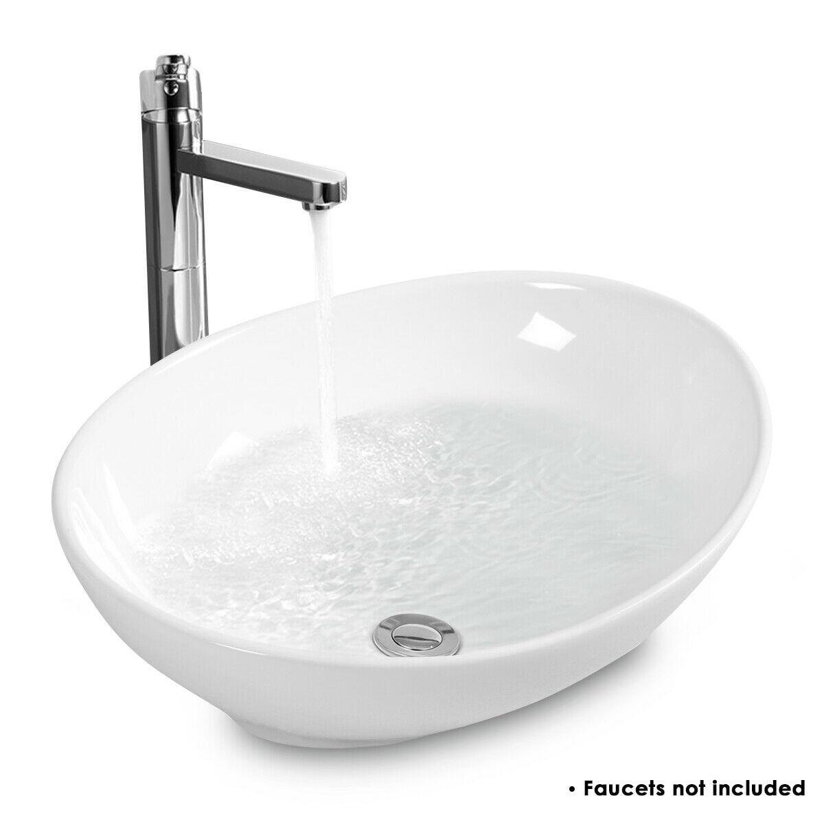 Modern Toilet White Oval Bathroom Wash Basin Ceramic Vessel Sink BA7146