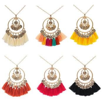 Geometric earrings colorful tassel woman pendant earrings European and American retro bohemian ethnic jewelry wholesale