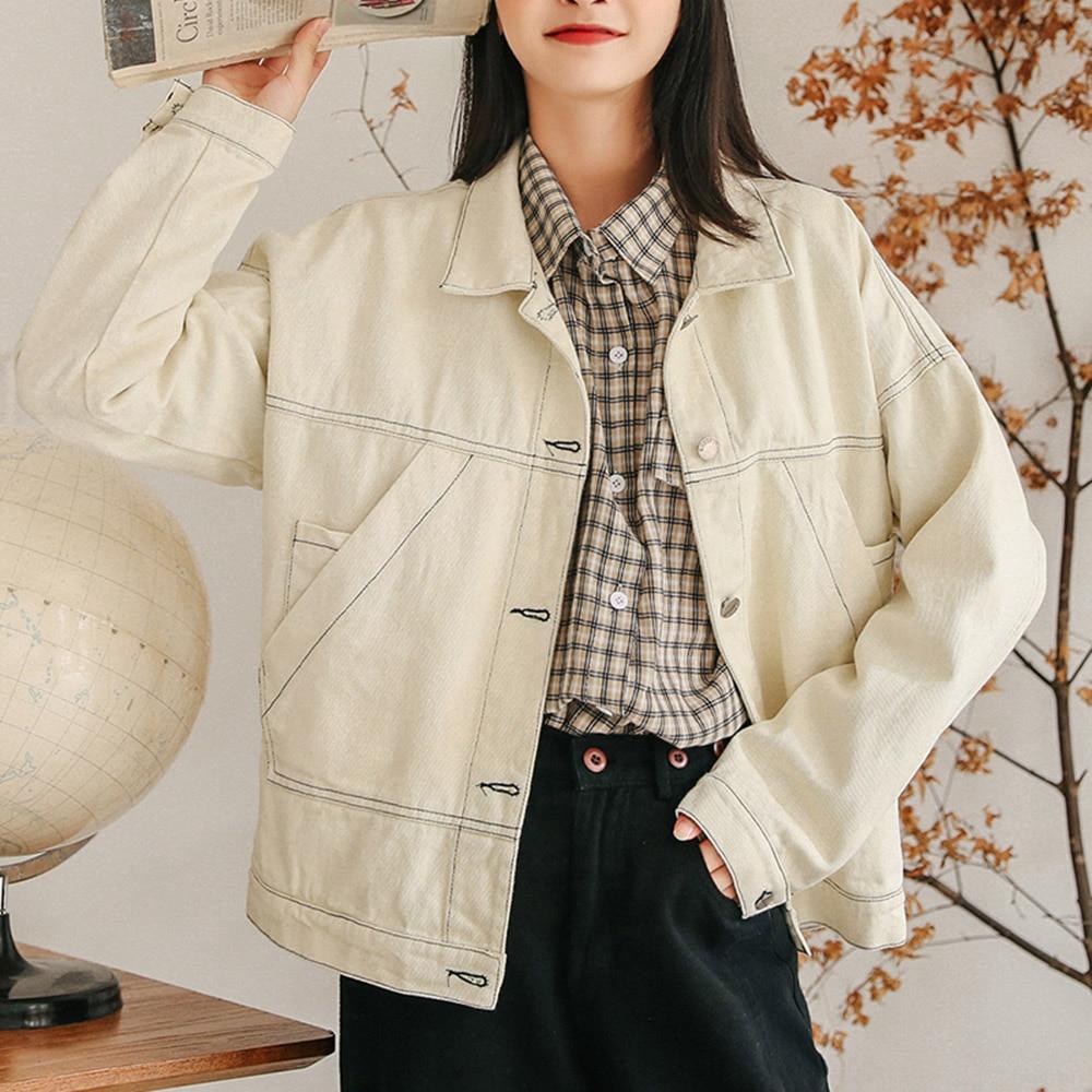Women Autumn Winter Harajuku Denim Jacket Long Sleeve Female New Fashion Loose Single-breasted Lapel Solid Coats Streetwear 2021