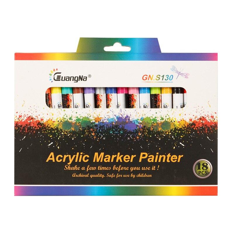 GN 12/18 цветов, 0,7 мм, маркеры для акриловой краски, художественные маркеры, ручка для керамической магнитной фарфоровой кружки, краска для дер...
