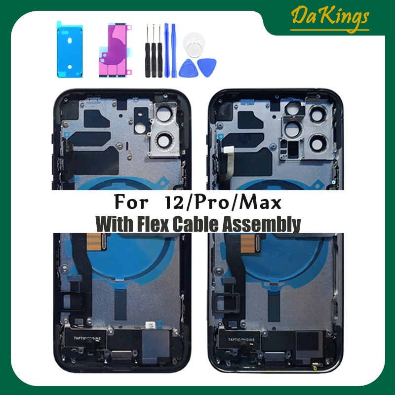 Full Back Housing for IPhone 12 12pro 12promax Middle Frame Chassis Battery Door Rear Cover Body with Flex Cable Parts Assembly enlarge